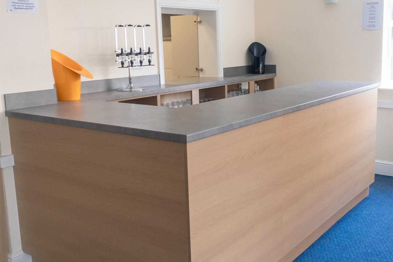Bar area with optic stand and ice buckets