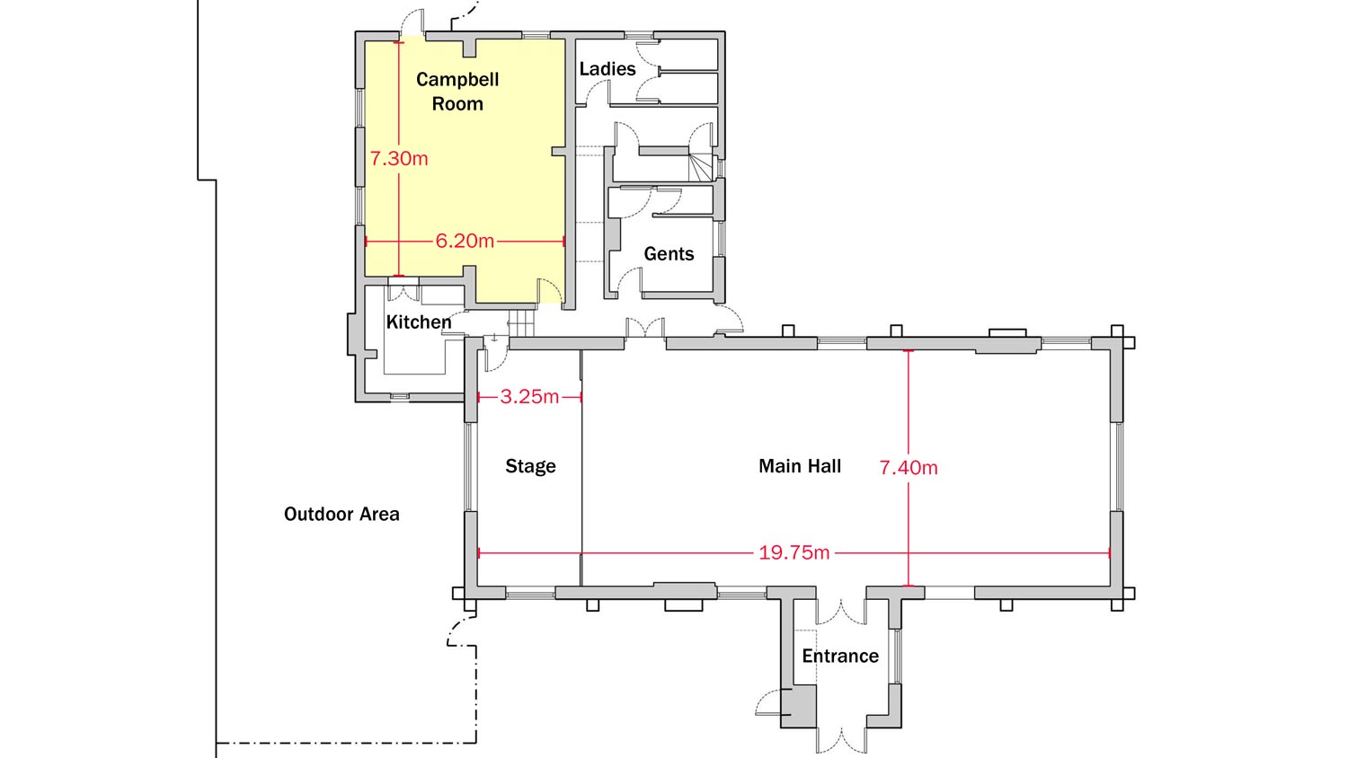 Plan of Dumbleton Village Hall with dimensions