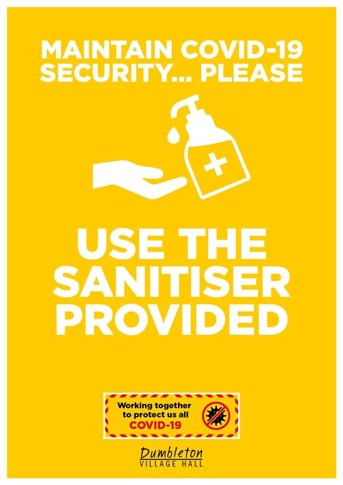 Covid-19 poster for Dumbleton Village Hall sanitiser use