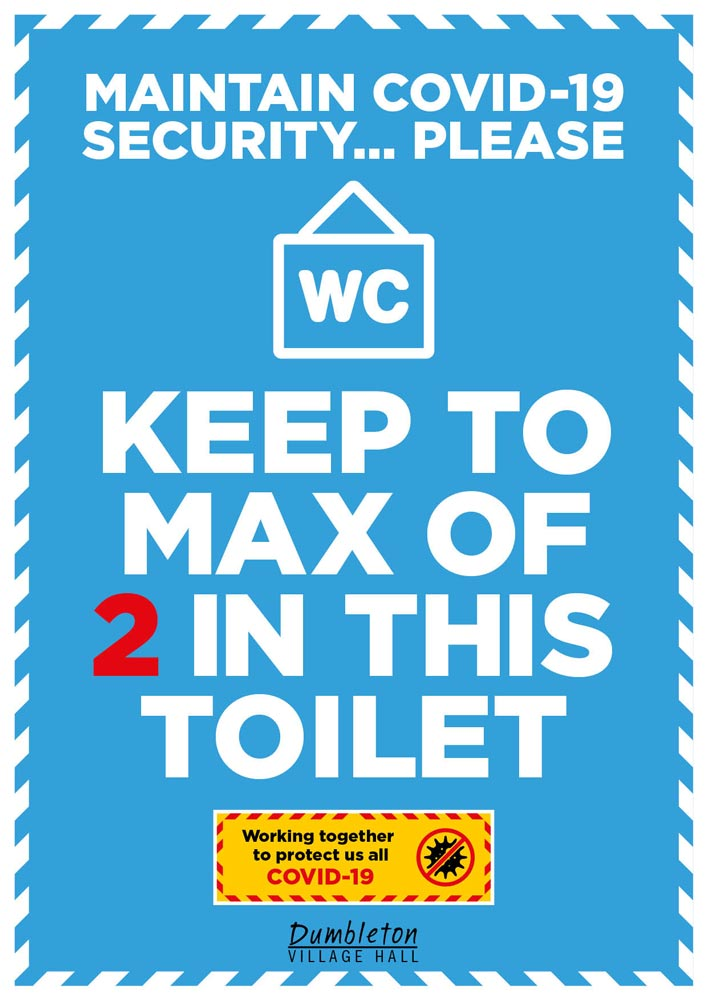 Covid-19 poster for Dumbleton Village Hall toilets