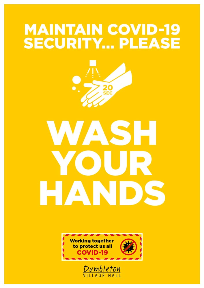 Covid-19 poster for Dumbleton Village Hall wash your hands advice