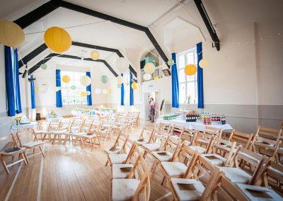 Wedding party set up at Dumbleton Village Hall