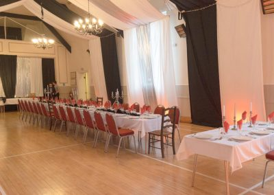 Party set up in the Main Hall at Dumbleton Village Hall