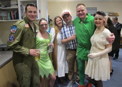 New Year's Dance customers in fancy dress at Dumbleton Village Hall