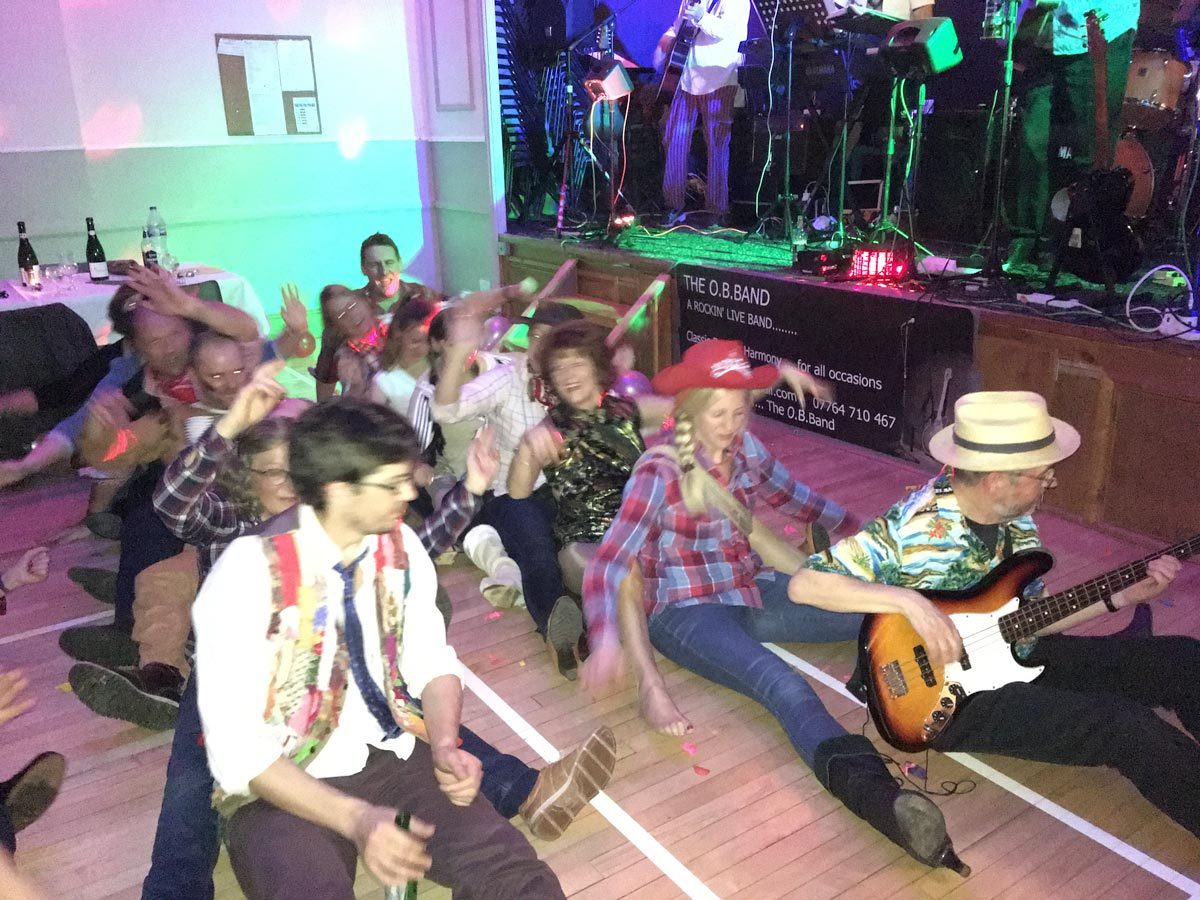 Dancers and band at Dumbleton Village Hall