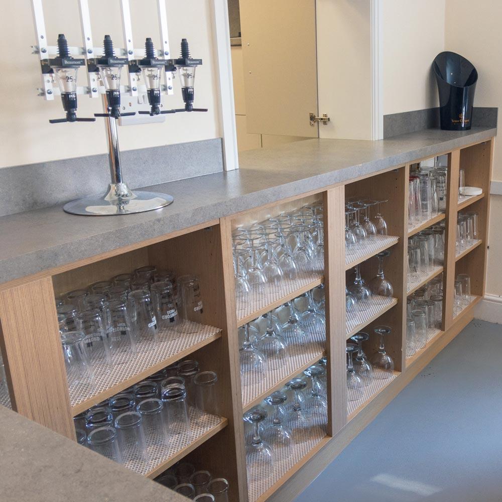 Bar shelves with glasses