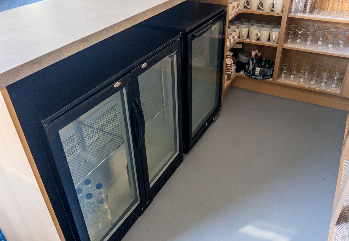 Chiller fridges in Dumbleton Village Hall bar