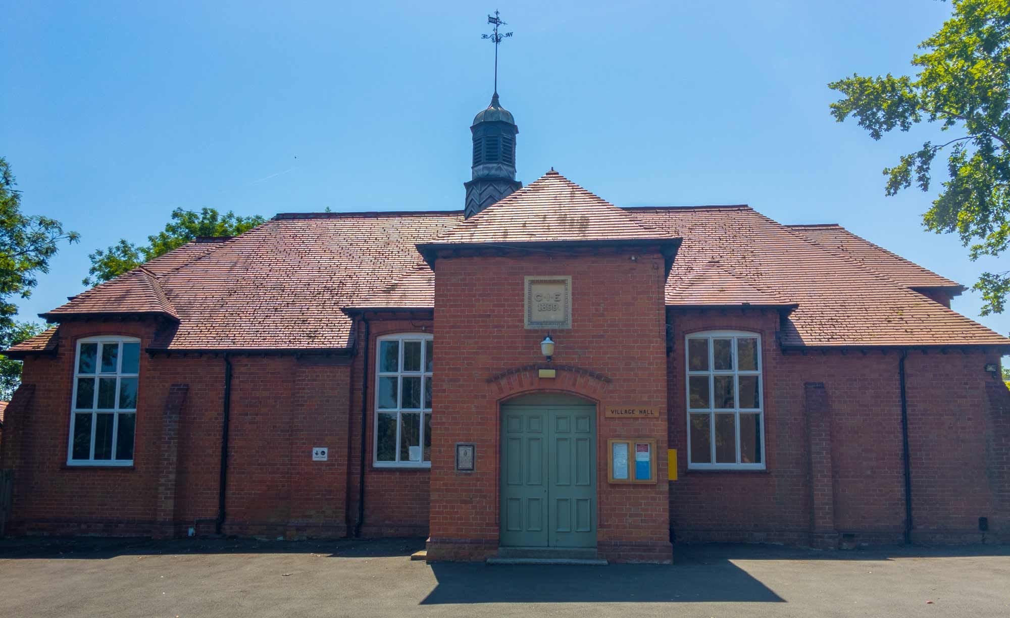Exterior of Dumbleton Village Hall from front