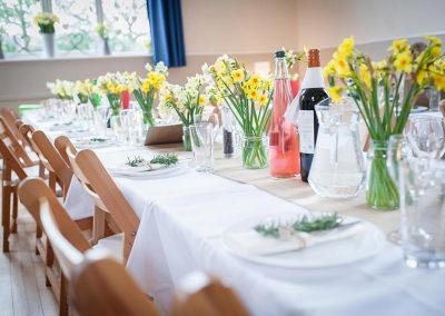 Wedding tables at Dumbleton Village Hall